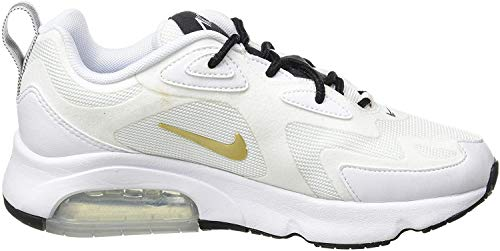 Nike W Air MAX 200, Zapatillas de Running para Asfalto para Mujer, Multicolor (White/Metallic Gold/Black 102), 39 EU