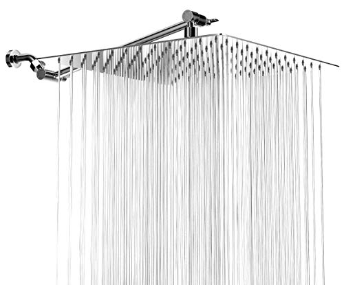 High Pressure Rainfall Shower Head - 12 Inch Bathroom Showerhead with 11 Inch Arm - Waterfall Full Body Coverage and Small Silicone Nozzles - Universal Fit Works with High and Low Water Flow Showers