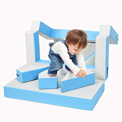 DREAMADE Kinder Spielsofa, 4 in 1 Puzzle Sofa Kindersofa, Kindermatraze Sitzgruppe mit Flexibler Kombination, Spielmatraze Kindercouch Bausteine für Kinderzimer