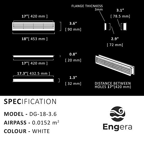 """Engera Bathroom Door Air Vent Grille Two Sided Ventilation Cover for Restroom, Warehouse, Storage Doors   Interior Door Transfer Grill 453mm x 91mm (18.1""""x3.6"""")"""