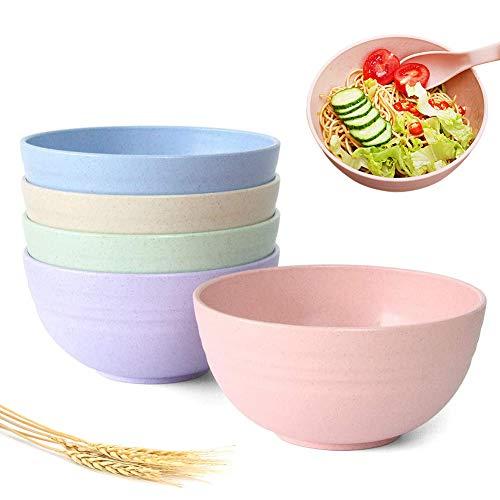 Cuencos de Cereales Irrompibles CHEPL 5 Piezas Cuencos de Cereales de Paja,Aptos para Lavavajillas y Microondas Cuencos Ecológicos para Sopa para Niños y Adultos
