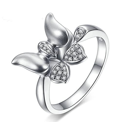 Amody Anillos de Matrimonio Oro Blanco, Anillo de Compromiso Mariposa Anillo con Diamante 0.082ct Tamaño 8