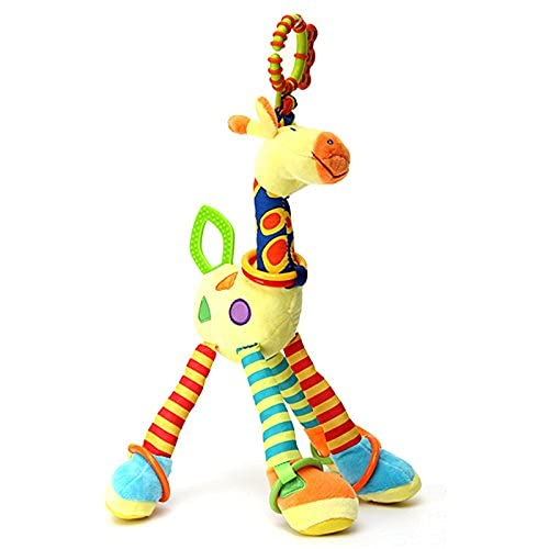 Giraffe Baby Hanging Toys:3-6-12 Month,1-2-3 Years Old Toy for Car Seat, Stroller, Cot, Crib Bed; Giraffe Toy for Newborn,Infant, Toddler,Baby,Kids with Crinkle, Ring,Teether
