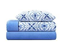 ADP HOME - Juego de sábana coralina 240 GSM Estampado Acacia (Azul, Cama de 150 CM)