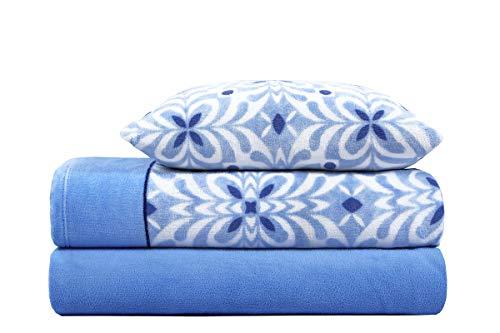 ADP HOME - Juego de sábana coralina 240 GSM Estampado Acacia (Azul, Cama de 90 CM)