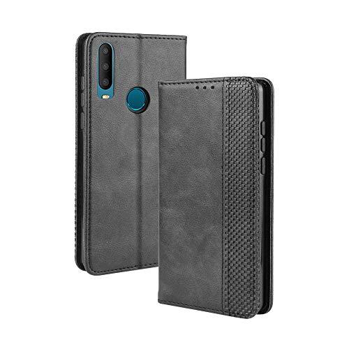 LAGUI Kompatible für Alcatel 3X 2019 Hülle, Leder Flip Hülle Schutzhülle für Handy mit Kartenfach Stand & Magnet Funktion als Brieftasche, schwarz