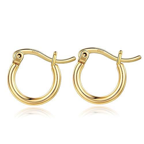 Delicados pendientes de aro de oro para mujer, chapados en oro de 14 quilates, plata 925, hipoalergénicos, delgados, ligeros, pequeños y lindos aretes de aro de oro para mujer de 13 a 100 mm