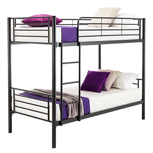 JOYBASE Metal Bunk Bed Twin Over Twin - with Removable Ladder and Guard Rail - Space Saving Design, Black
