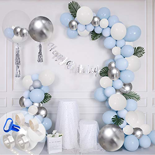 Gifts2U Balloon Arch Kit Baby Blue Balloon Garland Kit, 32Ft Tape Strip, Tying Tool, 200 Dot Glue, Blue White Metallic Silver Balloons for Baby Shower Party Wedding Birthday Holiday Xmas Boy and Girl
