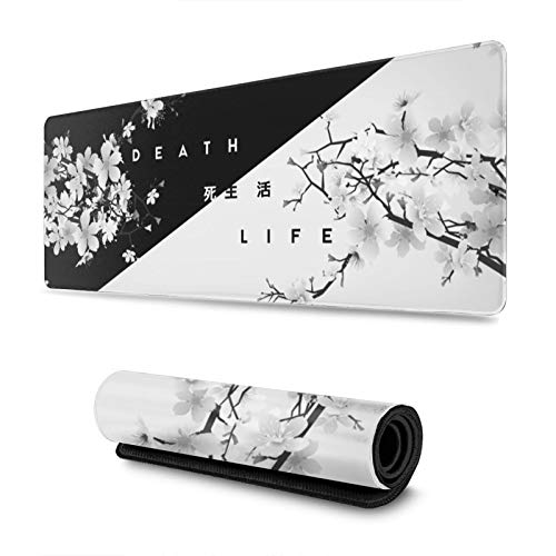 Black and White Cherry Blossom Gaming Mouse Pad XL, Extended Large Mouse Mat Desk Pad, Stitched Edges Mousepad, Long Non-Slip Rubber Base Mice Pad, 31.5 X 11.8 Inch