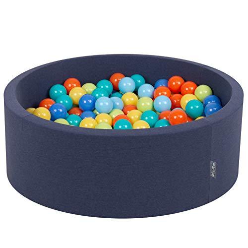 KiddyMoon Piscina De Bolas ∅ 7Cm para Ninos Hecha En La UE, Azulmar:Verdeclr,Naranja,Turq,Azul,Azulclr,Amaril,90X30cm/200 Bolas