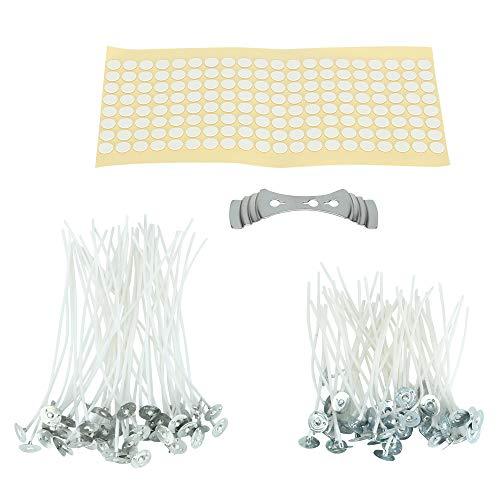 Bestechno Kit para hacer velas, mechas de vela preenceradas (100 piezas) junto con 100 pegatinas de mecha (puntos de doble cara) y soporte para mecha