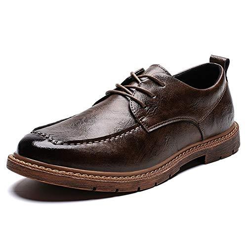 Rongjuyi Business Oxford voor mannen, werkschoenen met veters, microvezel, leer, lichtgewicht, solide kleuren, anti-slip stiksel, rubberen zool, schoenen met ronde punt
