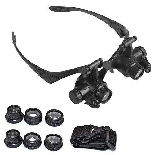 CLJ-LJ 10X 15X 20X 25X LED Gafas Lupa Diadema joyería Lente óptica relojero de la Lupa Lupa Lupa (Color : Black)