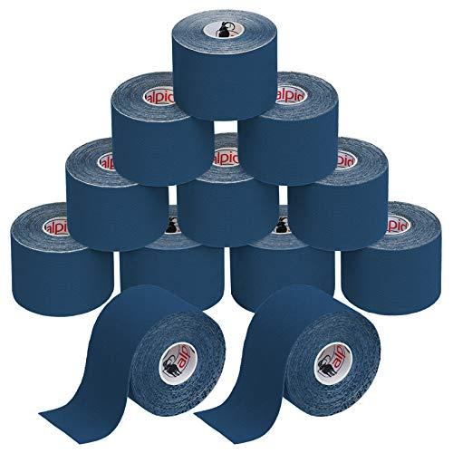 BB Sport 12 Rollos Cinta Kinesiología Tape 5 m x 5 cm Cinta Muscular E- Book Ejemplos Aplicación, Color:azul oscuro
