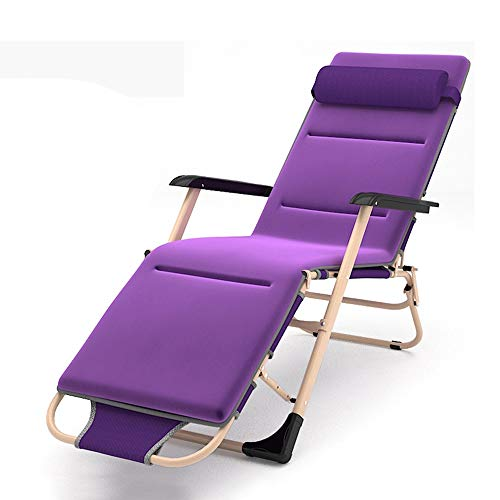 ZQS Folding Bed Chair Household Folding Recliner Bed Chair Dual-use Portable Folding Chair Office Lounge Chair Home Recliner, 2 Colors, 2 Styles Indoor and Outdoor can (Color : Purple, Size : B)