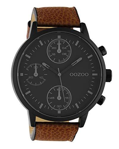 Oozoo Herrenuhr Chrono Look mit Lederband 50 MM Schwarz/Braun C10533