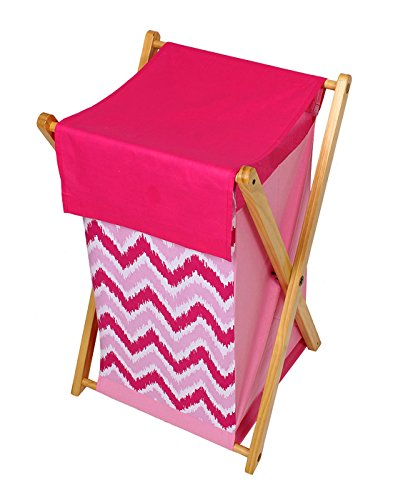 Bacati Pink ZigZag Cotton Hamper with Wooden Stand