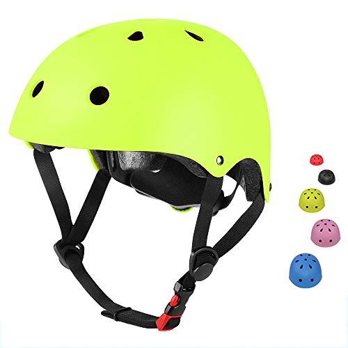 SLA-SHOP Kinderhelm für Jungen und Mädchen, verstellbar, bequem, für Roller, Roller, Skateboard, Fahrrad (3–8 Jahre) (Gelb)