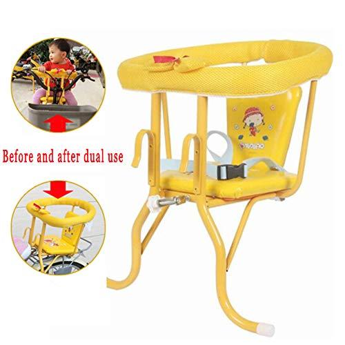 YXZN Baby Fahrradsitz Kinder Hinten Vorne HäNgende Heck Dual Use Quick Release Sitze Mit Sicherheitsgurt,Yellow,33X30X45CM