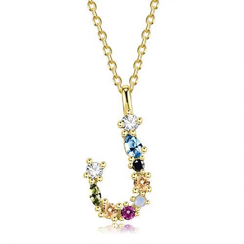 qwertyuio Collares para Mujer Collar De Plata Esterlina 925 para Mujer Oro Letra M Colgante Inicial F 26 Alfabeto Collares Ópalos Zirconia Svn472-Jb
