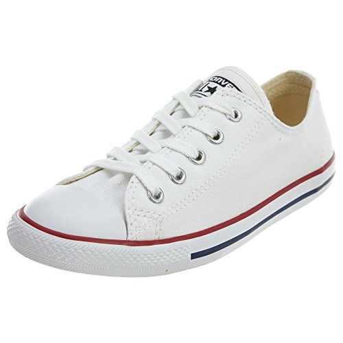 Converse Women's Dainty Canvas Low Top Sneaker, White, 9 M US