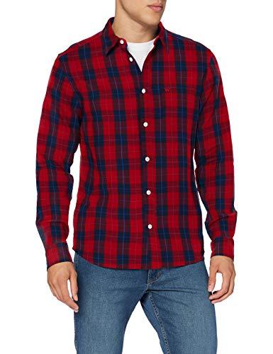 Wrangler LS 1PKT Shirt Camisa, Rojo Marte, M para Hombre