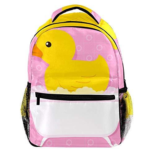 Lindo pato amarillo con estilo retro, impresión de color para bañera, mochila de moda, para estudiantes, viajes, camping, senderismo, casual, gran capacidad para niños, niñas y niños