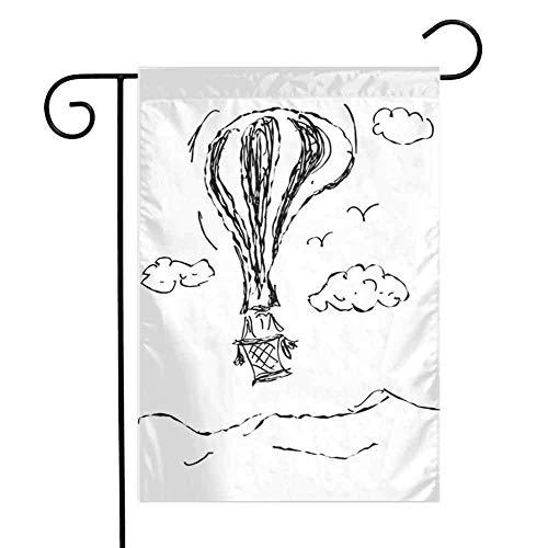 Moderne Herbst Vogelscheuche Ernte dekorative FlaggeHot Luftballon Skizze in den Wolken Trübe Luft Reise Künstlerisches Bild Herbst Kürbis Garten Hof Dekorationen W12,5 x L18 Zoll Anthrazit Grau Weiß