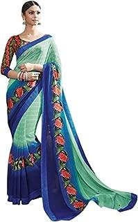 RajRajeshwari Women's Blue And Turquoise Color Designer Chiffon Saree
