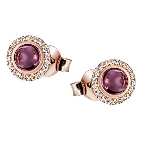 Goldmaid - Pendientes para mujer de oro rosa 585, 16 brillantes de 0,05 ct.