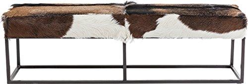 Kare Design Sitzbank Country Life, kleine, schmale 2er Polsterbank, Fell Sitzbank, Country Sitzbank, braun-weiß, (H/B/T) 47x140x35cm