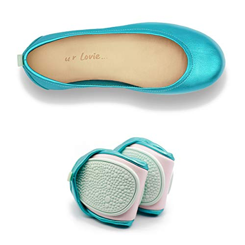 Women's Leather Ballet Shoes with Comfortable Foldable Portable travel (Sky Blue, Numeric_42)