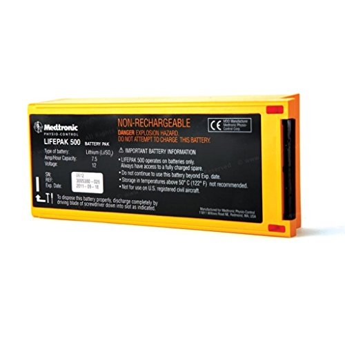 Physio-Control 11141-000158 Non-Rechargeable Lithium Sulfur Dioxide Battery Pak for LIFEPAK 500 AED