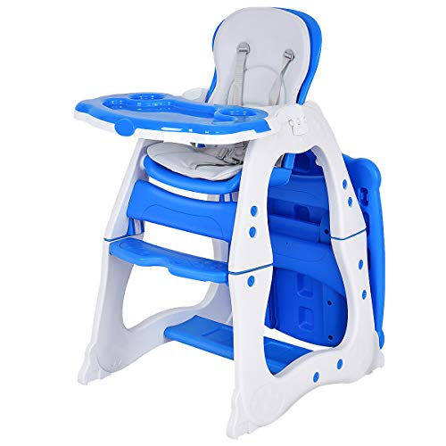 Costzon Baby High Chair, 3 in 1 Infant Table and Chair Set, Convertible Booster Seat with 3-Position Adjustable Feeding Tray, Adjustable Seat Back, 5-Point Harness (Blue)