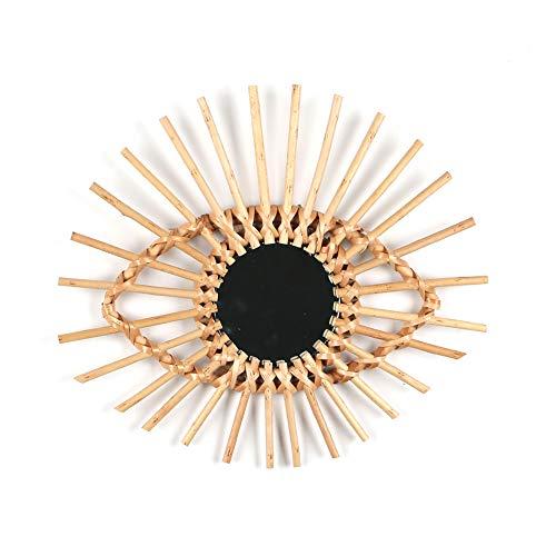 Urstory1 Espejo decorativo de ratán trenzado, estilo nórdico, para colgar en la pared, con forma de sol, espejo para el hogar, sala de estar, cuarto de baño, No nulo, E, Tamaño libre