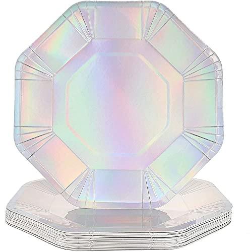 Juego de platos de papel, plata holográfica (9 pulgadas, 24 unidades)