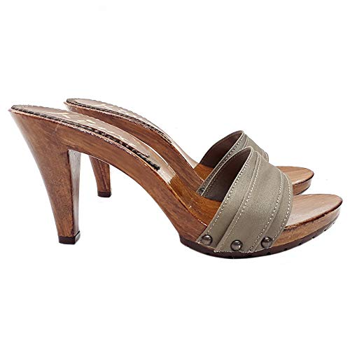 Kiara Shoes Women's Comfortable Clogs Heel 9 - Entirely Italian Product - K6101 Taupe (4 US, Taupe)