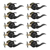 KNOBWELL 10 Pack Oil Rubbed Bronze Door Handle, Privacy Door Lever Bed and Bath Leverset Lockset,...