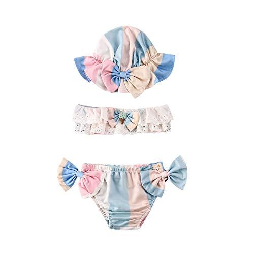 Geagodelia 3 Pezzi Costume da Bagno Neonata Bambina Bikini Set Estivo Stampa Floreale/Gelato Costumi Mare Bimba Beachwear con Fiocco Carino Elegante (Blu, 18-24 Mesi)