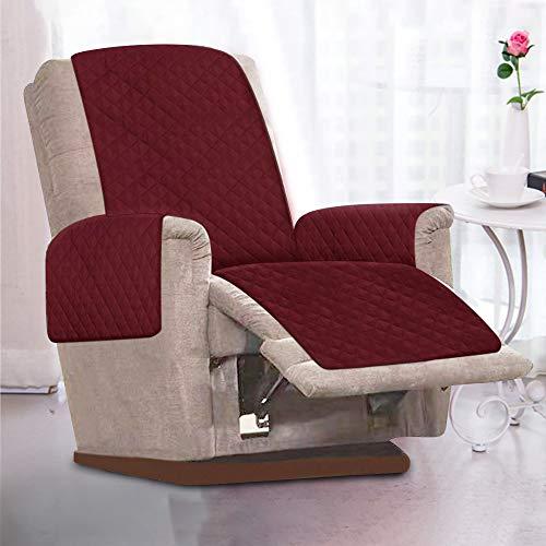 Littleduck Sesselschoner Relaxsessel Sesselauflage Relax,Sofaüberwurf 1 Sitzer Sesselschutz mit 2,5 cm Breiten verstellbaren Trägern (Rot)