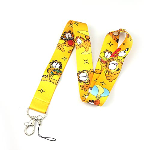 Garfield Cartoon Print Anime Lanyard Key Chain Neck Strap Retractable Reel Clip for Fans,Keychain, ID Badge Holder, Cell Phone, and Charms Neck Strap (Garfield-Lay)