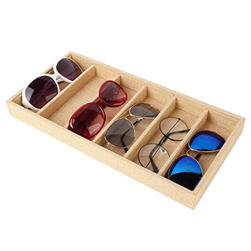 DAUERHAFT Caja de exhibición de Gafas de Sol con Soporte de Yute para almacenar Joyas de Gafas de Sol, Suministros para Manualidades