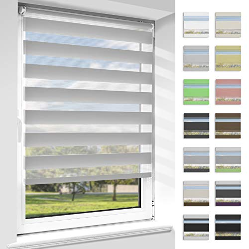 OUBO Doppelrollo Klemmfix ohne Bohren Duo Rollos für Fenster & Türen (Grau, 110cm x 140cm), Klemmrollo Seitenzugrollo Sicht und Sonnenschutz, Lichtdurchlässig und Verdunkelnd.