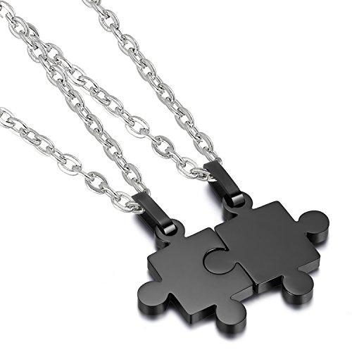 Collares Pareja Colgante Puzzle Acero Inoxidable Joyería de Moda Regalo Cumpleaños San Valentín Aniversario (Negro)