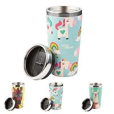 BIOZOYG Taza Termo para Beber de bambú con Tapa de Rosca, Libre de BPA I Taza de bambú para Llevar café Taza Termo Aislante para té I Taza Termo para Llevar café, Capacidad 400 ml Unicornio