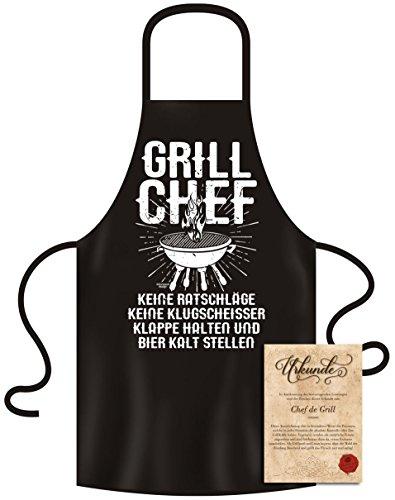 Soreso Design Grillschürze für Männer - Grill Chef - mit Urkunde - Kochschürze Witziges Geschenk für Männer zum Geburtstag