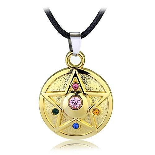 wangzz Moon Stars Anhänger Lederschnur Halskette Crystal Sailor Moon Halskette Schönes Mädchen Geschenk