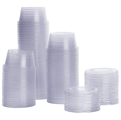 [100 Sets - 2 oz.] Plastic Portion Cups With Lids, Souffle Cups, Jello Shot Cups