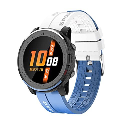 Yumanluo Smartwatch Impermeable,Reloj móvil Impermeable de Dos Colores, Pulsera Inteligente de Control de la Salud-Blanco Azul,Monitores de Actividad,Fitness Tracker